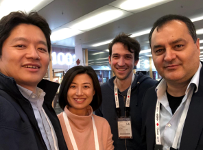 From left to right: Jiajia, Yinghua, Renzo, Kamil at ISMRM 2019 discussing the value of layerfMRI in Neuroscience