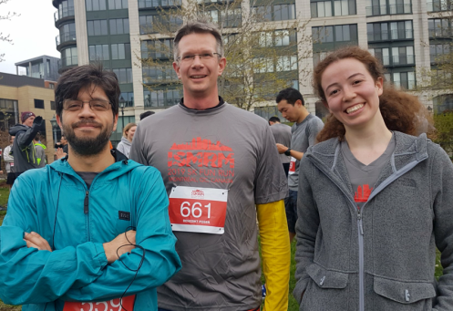 Group leader Bene (middle) Frank (left) and Deni (right) after the Fun run at ISMRM 2019 in Montreal